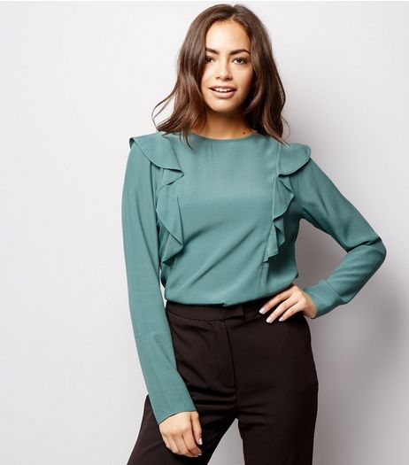 Blue Frill Trim Long Sleeve Top | New Look