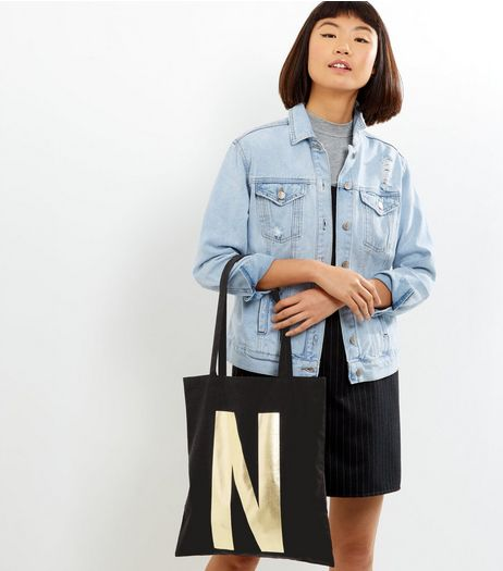 Black Metallic N Initial Canvas Bag | New Look