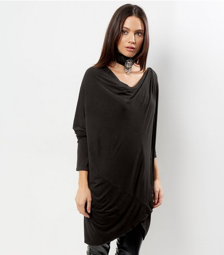 QED Black Wrap Front Drape Top | New Look