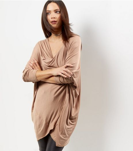 QED Camel Wrap Front Drape Top | New Look