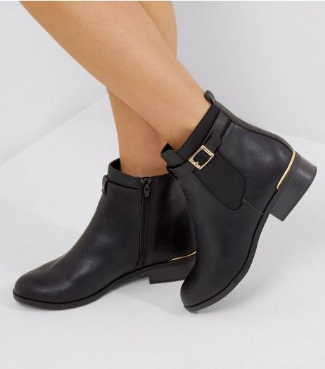 Black Buckle Strap Metal Trim Chealsea Boots | New Look