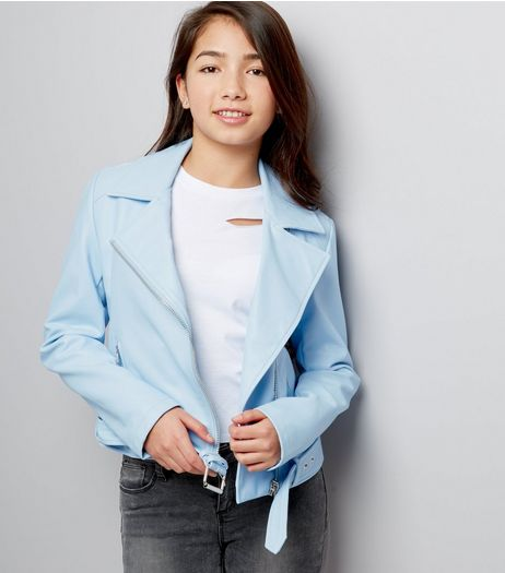 Teens Pale Blue Leather-Look Jacket | New Look