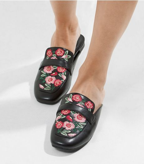 Black Floral Embroidered Mules  | New Look