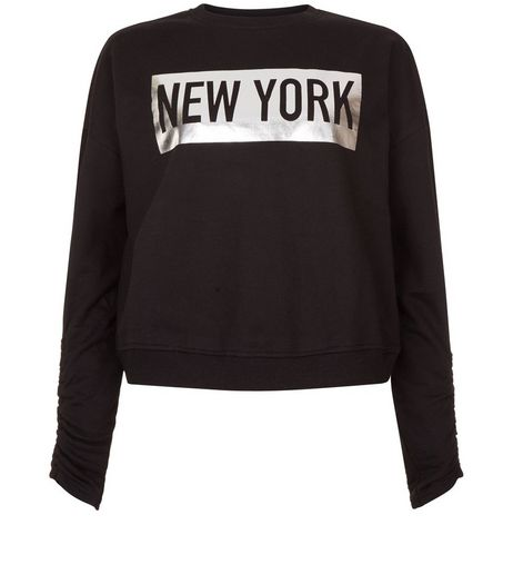 Teens Black New York Foil Print Ruched Sleeve Sweater | New Look