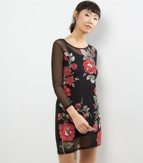 Carpe Diem Black Mesh Floral Embroidered Dress | New Look