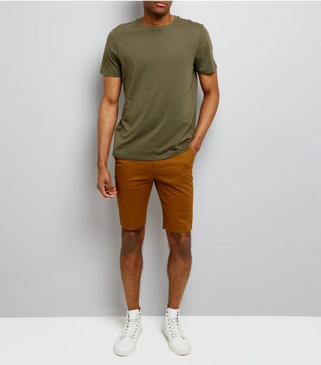 Camel Skinny Chino Shorts | New Look