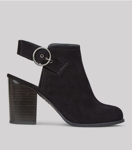 Wide Fit Black Suedette Sling Back Boots | New Look