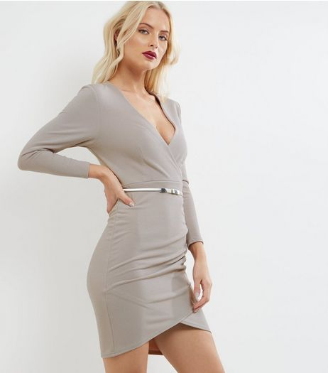 Mink Long Sleeve Wrap Front Bodycon Dress | New Look
