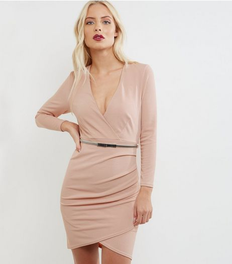 Mid Pink Long Sleeve Wrap Front Bodycon Dress | New Look