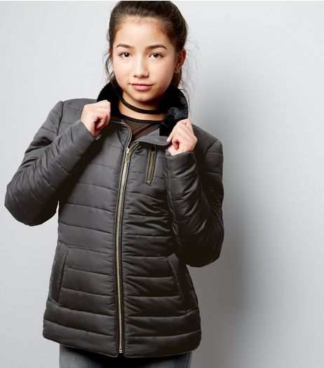 Teens Black Fitted Puffer Jacket | New Look