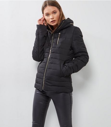 Tall Black Fitted Padded Puffer Jacket | New Look