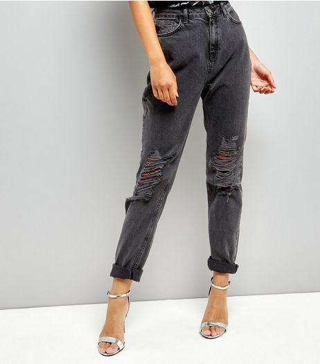 Tall Dark Grey Ripped Mom Tori Jeans | New Look