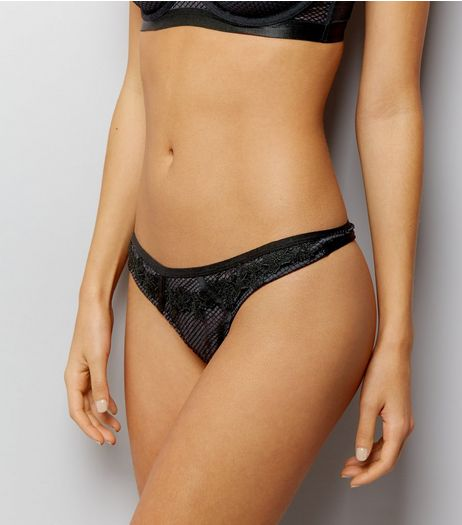Black Fishnet And Embroidered Lace Thong | New Look