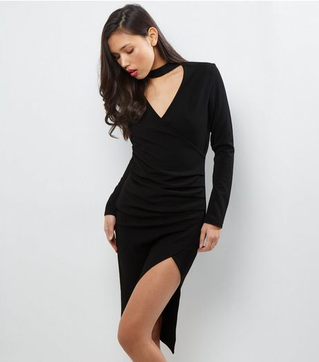 Black Choker Neck Wrap Front Long Sleeve Dress | New Look