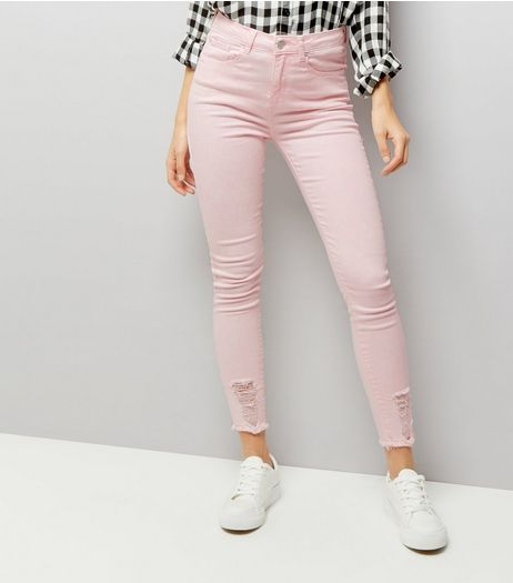 Mid Pink Ripped Skinny Jenna Jeans | New Look