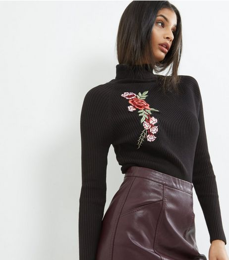Blue Vanilla Black Floral Embroidered Turtle Neck Jumper | New Look