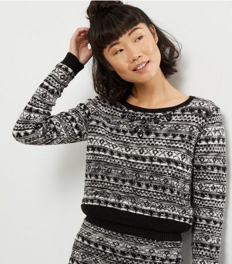 Blue Vanilla Black Crystal Embellished Fairisle Jumper | New Look