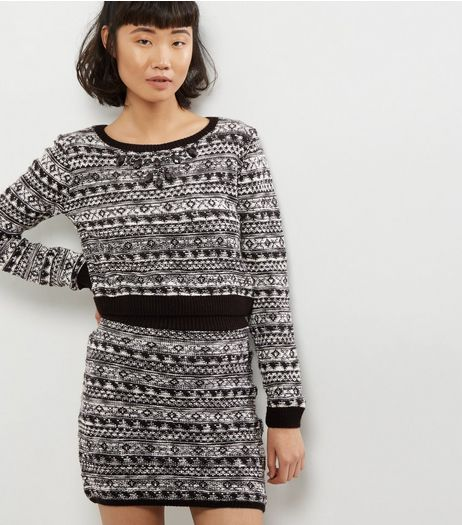 Blue Vanilla Black Fairisle Mini Skirt | New Look