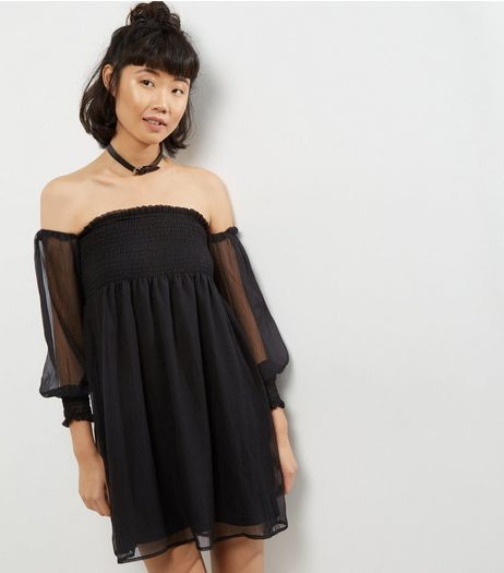 Blue Vanilla Black Chiffon Shirred Bardot Neck Dress | New Look