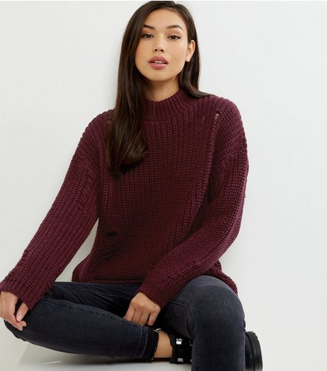 Burgundy Ladder Ripped Turtle Neck Jumper  | New Look