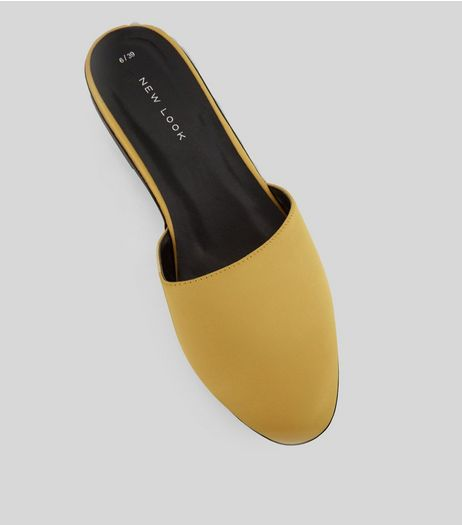 Yellow Satin Mules | New Look