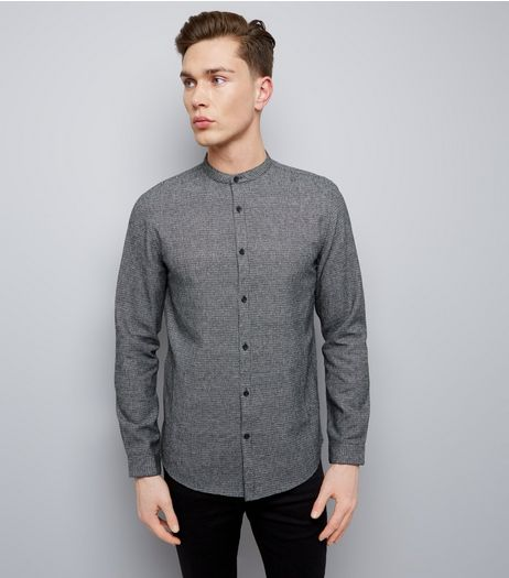 Black Check Grandad Collar Long Sleeve Shirt | New Look