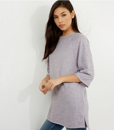 Lilac Seam Trim 3/4 Sleeve Oversized Top  | New Look