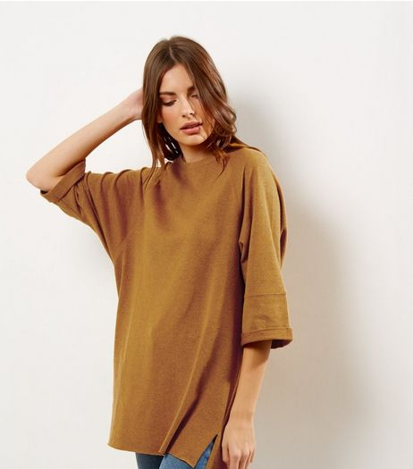 Yellow Seam Trim 3/4 Sleeve Oversized Top | New Look
