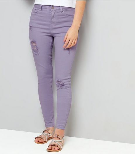 Teens Lilac Ripped Skinny Jeans | New Look