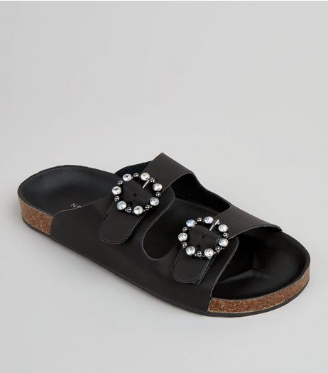 Black Diamante Ring Double Strap Footbed Sandals | New Look