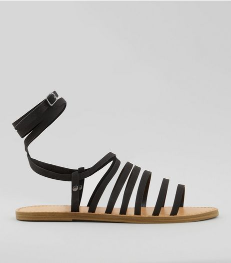 Black Multi Strap Gladiator Sandals   | New Look