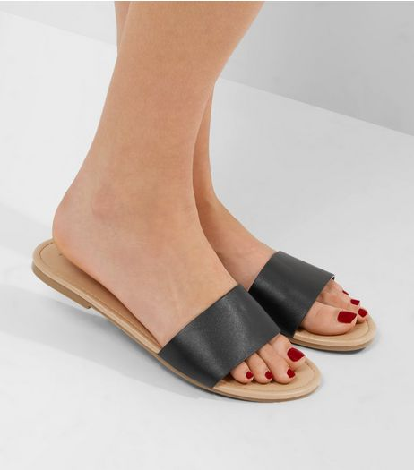Black Slim Strap Mules | New Look