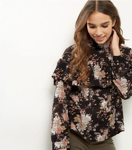 Influence Black Floral Print Frill Trim Top | New Look