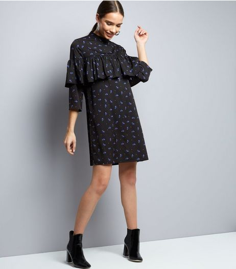 Influence Black Floral Print Frill Trim 3/4 Sleeve Dress  | New Look