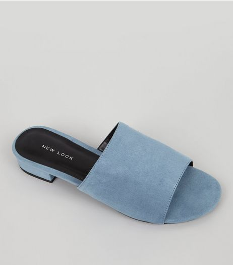 Blue Suedette Mules | New Look
