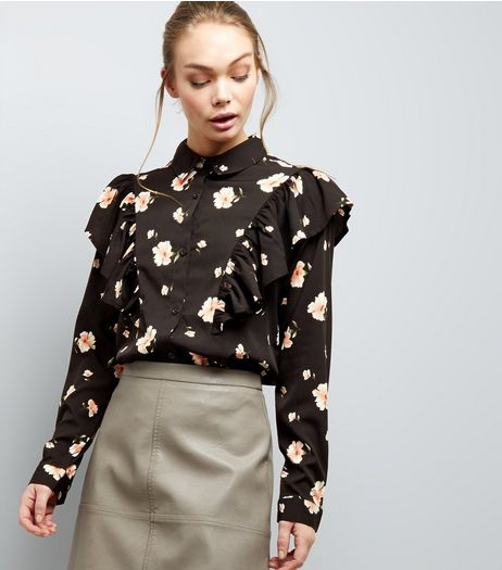 Influence Black Floral Print Frill Trim Shirt | New Look