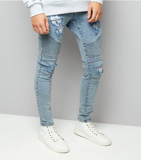 Pale Blue Light Wash Ripped Skinny Stretch Biker Jeans | New Look