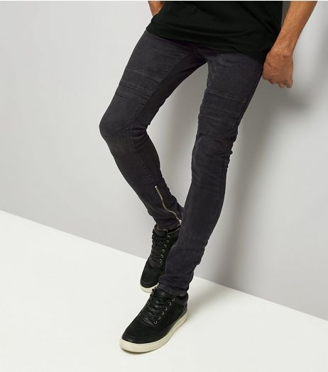 Black Zip Hem Super Skinny Stretch Jeans | New Look