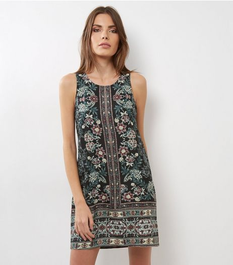 Apricot Black Floral Print Shift Dress | New Look