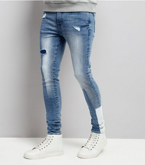 Pale Blue Patchwork Super Skinny Jeans | New Look
