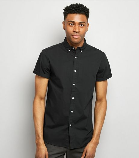 Black Washed Cotton Short Sleeve Shirt | New Look