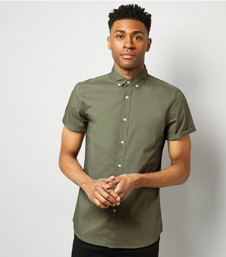 Green Washed Cotton Short Sleeve Shirt | New Look