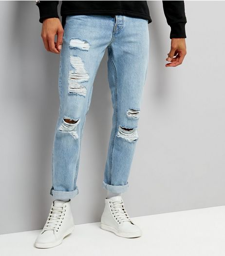 Pale Blue Light Wash Ripped Slim Leg Jeans | New Look