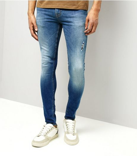 Bright Blue Ripped Super Skinny Stretch Jeans | New Look