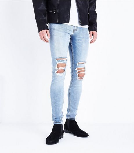 Pale Blue Light Wash Ripped Knee Super Skinny Jeans | New Look