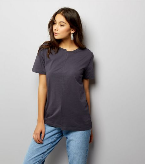 Dark Grey Short Sleeve Spliced T-Shirt  | New Look