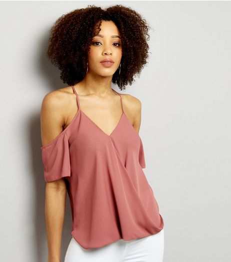 Pink Tie Back Cold Shoulder Wrap Front Top  | New Look