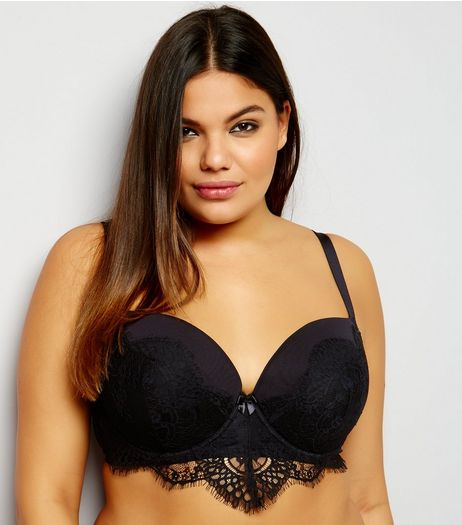 Curves Black Lace Trim Bra | New Look