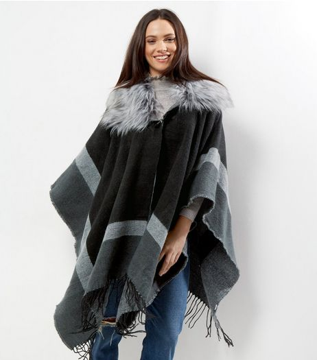 Apricot Black Colour Block Faux Fur Trim Cape  | New Look