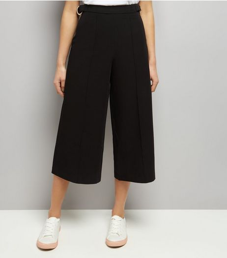 Black Hoop Trim Culottes  | New Look